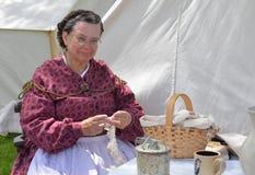 Civil-war era reenactor tatting Stock Photos
