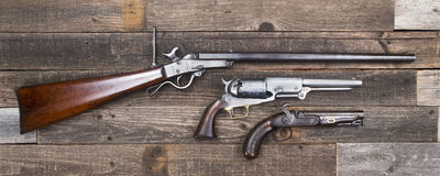 Civil War Era Rifle and Pistols. Stock Images