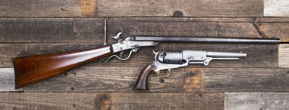 Civil War Era Rifle and Pistols. Royalty Free Stock Image