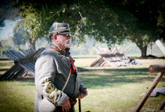 Civil War General. Man dressed as a Confederate General as part of a battle reenactment at  Beauvior, the Jefferson Davis House (confederate White House), in Stock Images