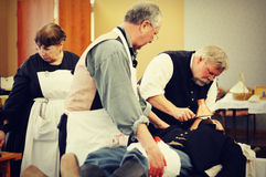 Civil War Hospital. A reenactment of doctors removing a bullet from a civil war general at the Civil War Museum in Kenosha, Wisconsin for their history of Stock Photo