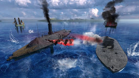 Civil War Ironclads, Battle Hampton Roads. Illustration of the Ironclads Merrimac and Monitor of the Civil War fight at the naval Battle of Hampton Roads stock photo