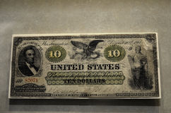 Civil War Money 10 Ten Dollars Stock Image