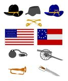 Civil war objects. Variety of civil war objects over white Royalty Free Stock Image