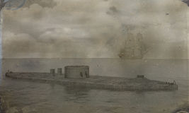Civil War Photo Monitor Ironclad Illustration. Artistic rendition of the USS Monitor ironclad ship during the Civil War. The image was created to simulate on old Stock Photography