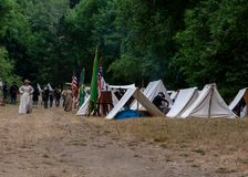Civil war re-enactement US Union camp in Duncans Mills, CA, USA stock images