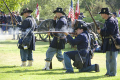 Civil War Re-Enactment 23 - Union Gunfire Stock Images
