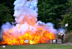 Civil War Re-enactment - explosion. And flames Stock Photos