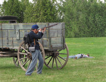 Civil War re-enactment soldier firing rifle. Stock Photos