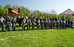 Civil War Re-enactors Line-up for Opening Ceremony Royalty Free Stock Photo