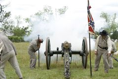 Civil war reenactment canon blast Royalty Free Stock Image