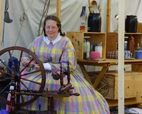 Holland Michigan, USA - September 2017: Civil War Reenactment woman seemstress