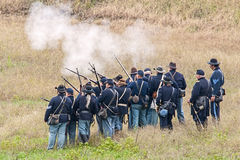 Civil War reenactment. Civil War reenactors partisipating in a reenactment of the battle of Glasgow Missouri USA Royalty Free Stock Images