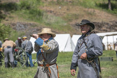 Civil war reenactors as officers. Royalty Free Stock Image