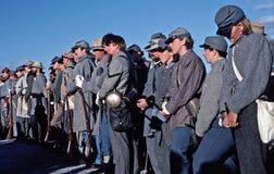 Civil War reenactors portraying Confederate soldiers. Stock Image