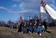 Civil War reenactors portraying Confederate soldiers. stock photography
