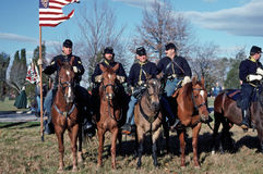 Civil War reenactors portraying Union Cavalry soldiers. Royalty Free Stock Images