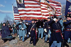 Civil War reenactors portraying Union soldiers. Stock Image
