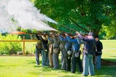 Civil War rifle firing drill Royalty Free Stock Photo
