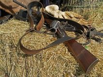 Civil War Rifle. On a hay bale used for re-enactment royalty free stock photography