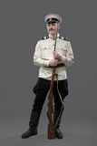 Civil War in Russia, Russian Civil War 1918-1922, White Guard, T. Rooper of 1st General Markov (Markoff) Officers Regiment. Isolated on grey background Stock Photography