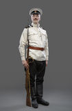 Civil War in Russia, Russian Civil War 1918-1922, White Guard, T. Rooper of 1st General Markov (Markoff) Officers Regiment. Isolated on grey background Stock Photo