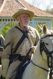 Civil War Soldier Horseback. Buchanan, VA - April 26; A Civil War soldier on horseback dressed in Civil War period clothing at the Buchanan Civil War History Stock Photography