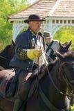 Civil War Soldier Horseback. Buchanan, VA - April 26; A Civil War soldier on horseback dressed in Civil War period clothing at the Buchanan Civil War History Stock Images