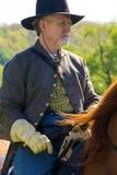 Civil War Soldier on Horseback. Buchanan, VA - April 26; A Civil War soldier on horseback in Civil War period clothing at the Buchanan Civil War History Weekend Stock Photography