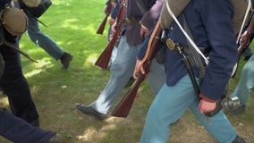 Civil War soldier marching with heavy gear stock video footage
