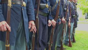 Civil War soldiers at attention and turn stock footage
