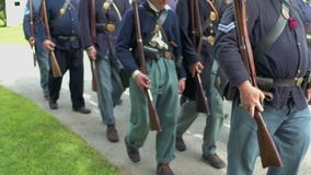 Civil War soldiers begin slowly marching stock video