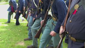 Civil War soldiers begin speeding up march stock footage