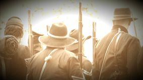 Civil War soldiers from behind (Archive Footage Version) stock video footage