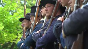 Civil War soldiers being trained stock footage