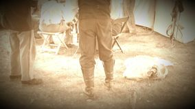 Civil War soldiers in camp with chicken (Archive Footage Version) stock footage