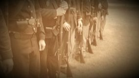 Civil War soldiers come to attention (Archive Footage Version) stock video