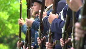 Civil War soldiers doing drills stock footage