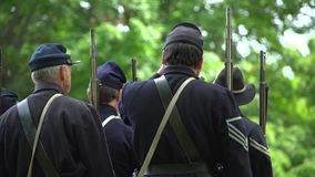 Civil War soldiers experiencing misfire. View of Civil War soldiers experiencing misfire stock footage