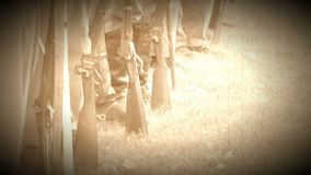 Civil War soldiers feet and guns in a row (Archive Footage Version) stock footage