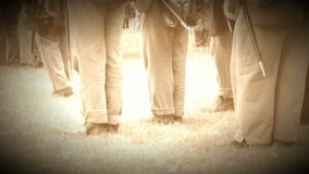 Civil War soldiers feet at inspection attention (Archive Footage Version) stock video footage