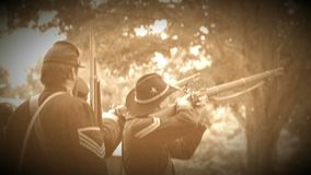 Civil War soldiers firing a volley (Archive Footage Version) stock video