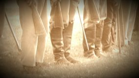 Civil War soldiers in formation (Archive Footage Version). View of Civil War soldiers in formation (Archive Footage Version stock footage