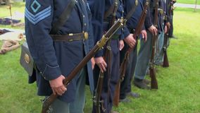 Civil War soldiers in a formation stock video