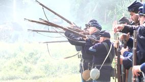 Civil War soldiers on the front lines. View of Civil War soldiers on the front lines stock video