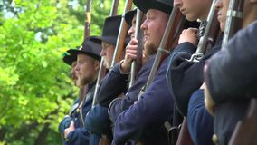 Civil War soldiers get final orders stock footage