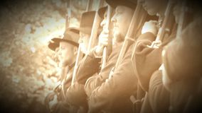 Civil War soldiers getting final orders (Archive Footage Version) stock video footage