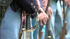 Civil War soldiers guns and a sword. Shot of Civil War soldiers guns and a sword stock footage
