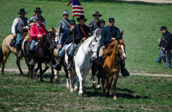 Civil war soldiers on horseback. Reenactment of union soldiers in civil war uniforms from the 2012 Jackson Michigan Civil war muster Royalty Free Stock Photos