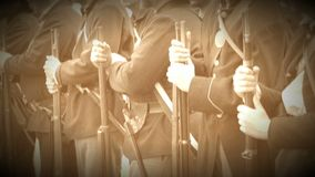 Civil War soldiers line up for battle (Archive Footage Version) stock footage